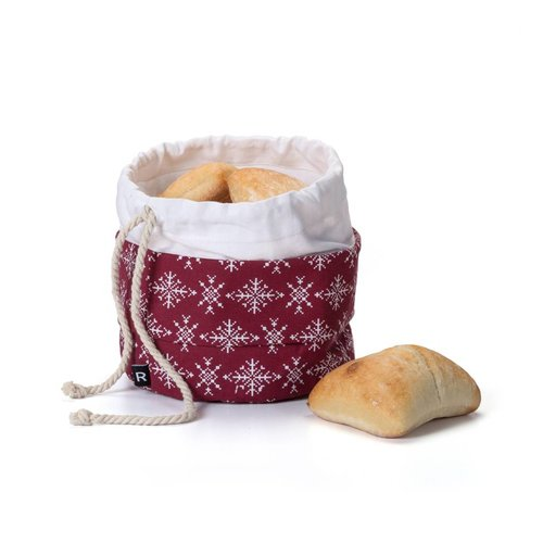 Red Bread Bag with Snowflakes