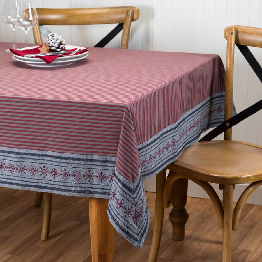 Tablecloth with Stripes and Red Snowflakes - Photo 0