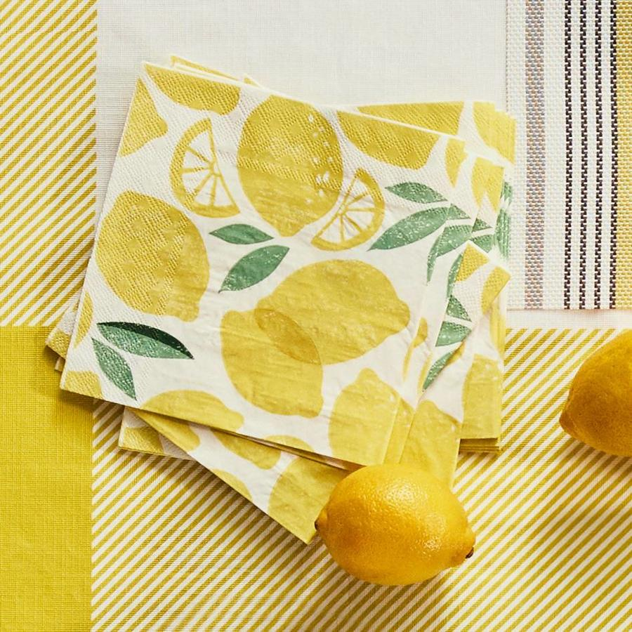 Serviettes de table en papier à motifs de citron - Photo 1