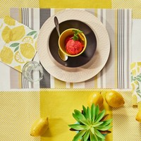 Placemat with yellow and grey stripes