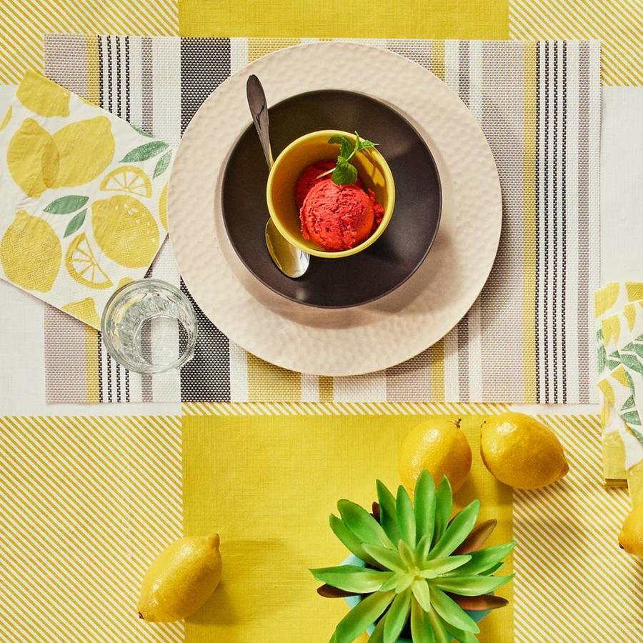 Napperon en plastique à rayures jaunes et grises - Photo 2