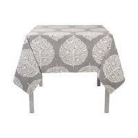 Grey Tablecloth with White Foliage Pattern