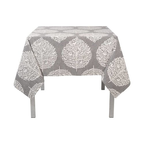 Tablecloth with White Foliage Pattern