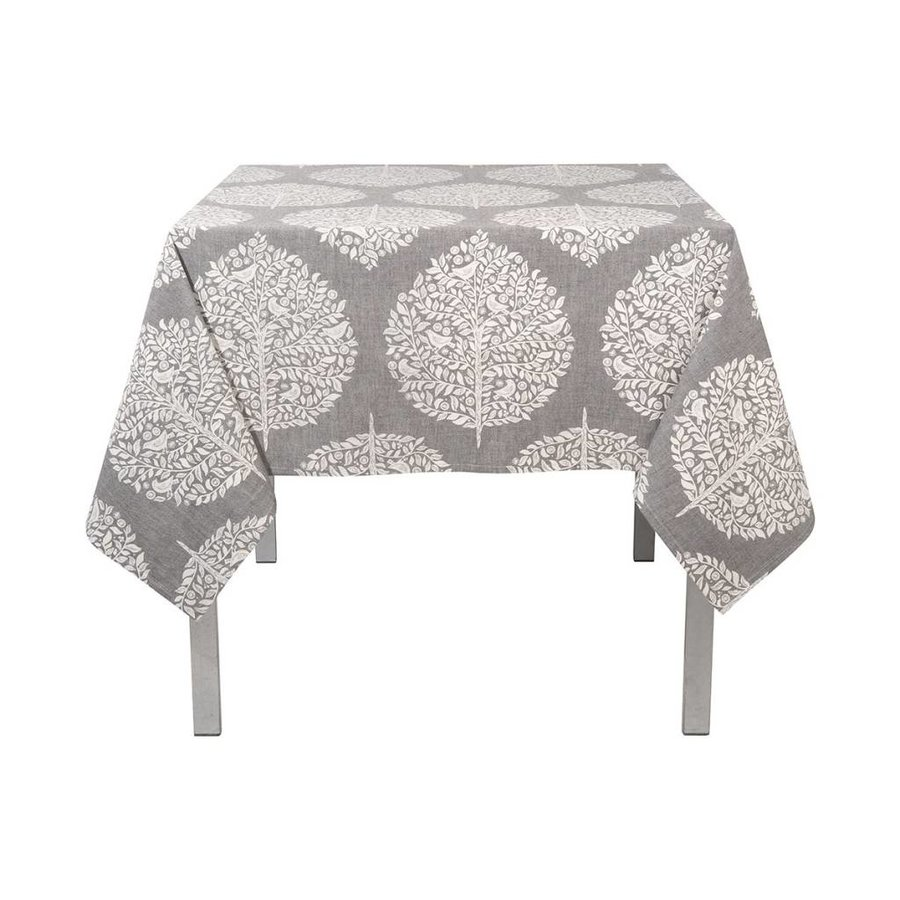 Grey Tablecloth with White Foliage Pattern - Photo 0
