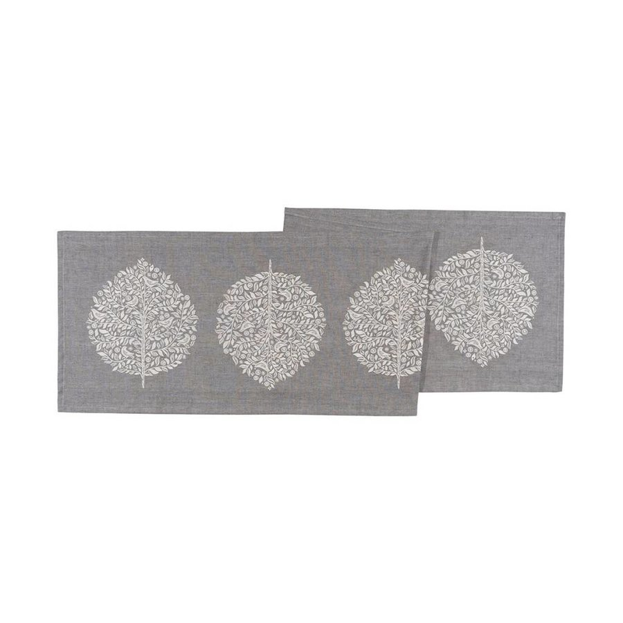 Grey Table Runner with Foliage Pattern - Photo 0