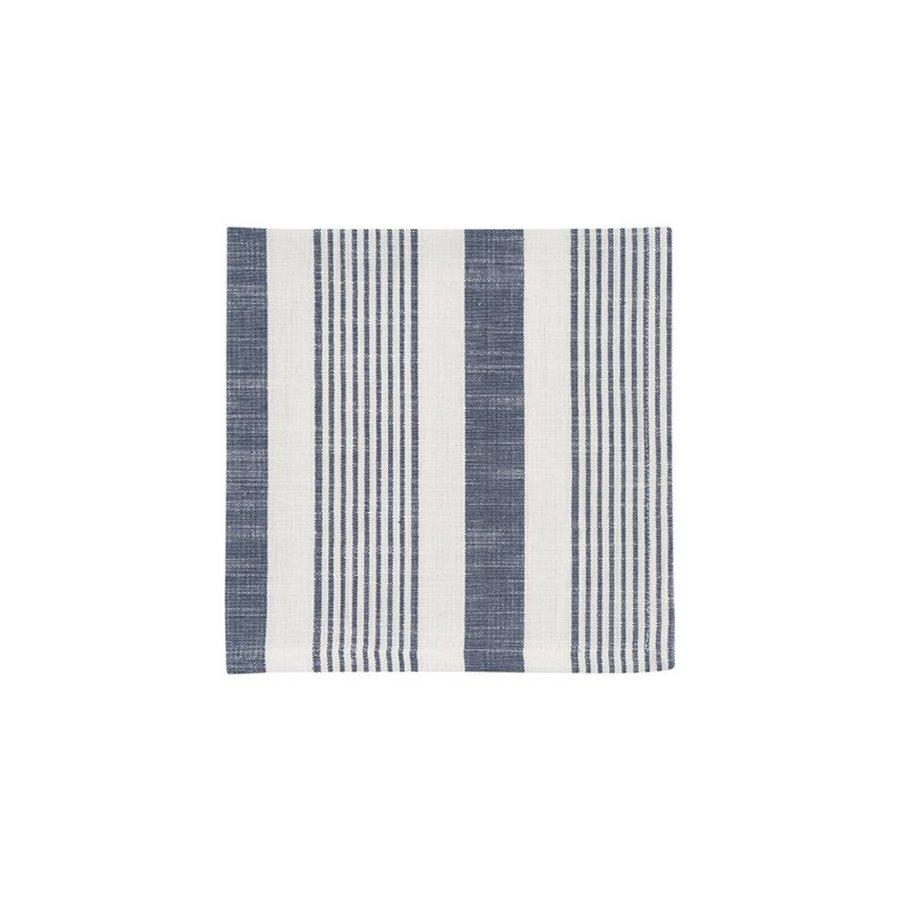 Serviettes de table tissées à rayures blanches et bleues - Photo 0