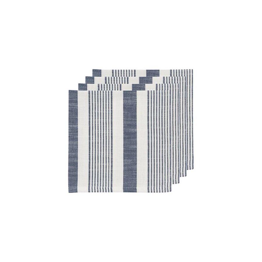 Serviettes de table tissées à rayures blanches et bleues - Photo 1