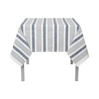 White Woven Tablecloth with Blue Denim-Look Stripes