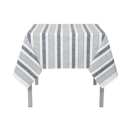 White Woven Tablecloth with Blue Stripes