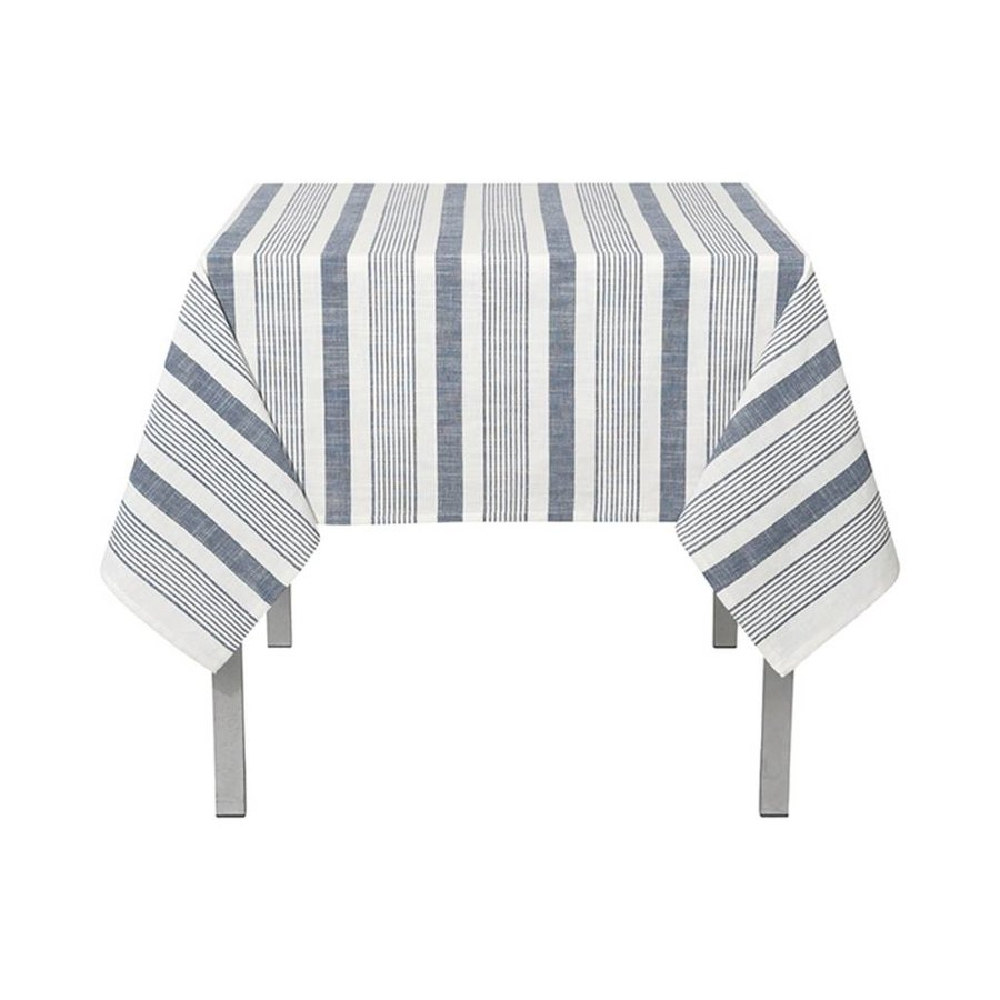 White Woven Tablecloth with Blue Denim-Look Stripes - Photo 0