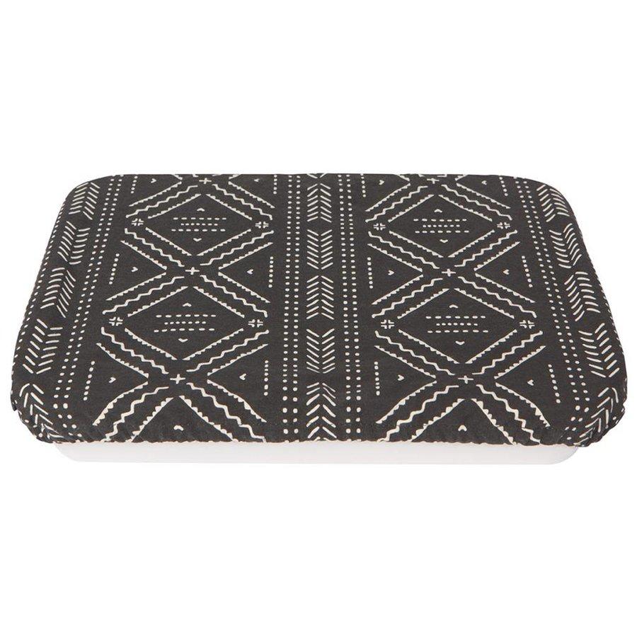 Couvre-plat réutilisable en tissu noir à motifs aztèques - Photo 0