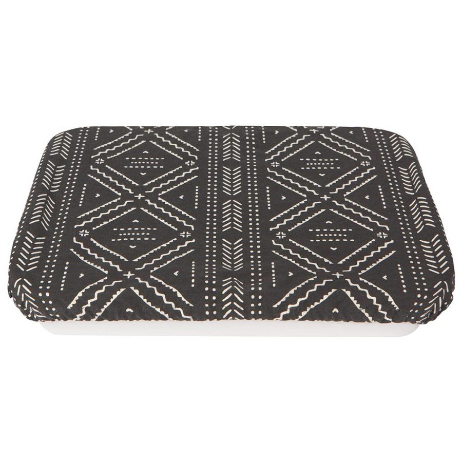 Reusable Black Cloth Dish Cover with Aztek Pattern - Photo 0