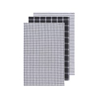 Set of 3 Dark-Coloured Striped and Checkered Tea Towels