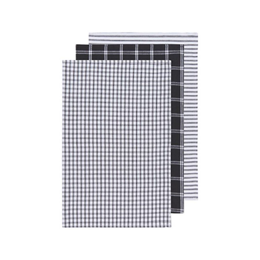 Set of 3 Dark-Coloured Striped and Checkered Tea Towels - Photo 0