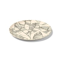 Sand-coloured Bamboo Plate with Leaf Pattern