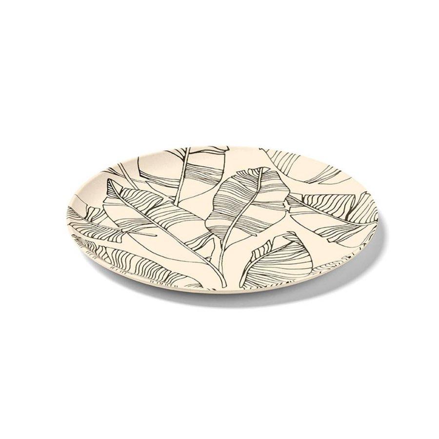 Assiette couleur sable à motifs de feuilles en bambou - Photo 0