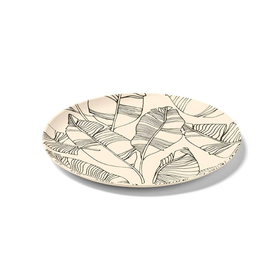 Sand-coloured Bamboo Plate with Leaf Pattern - Photo 0
