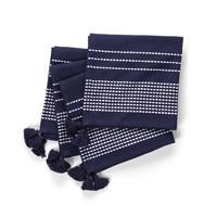 Navy Blue Pompom Napkins with White Stripes