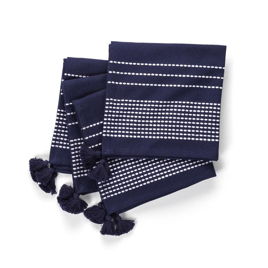 Serviettes de table bleu marine à rayures blanches à pompons - Photo 0