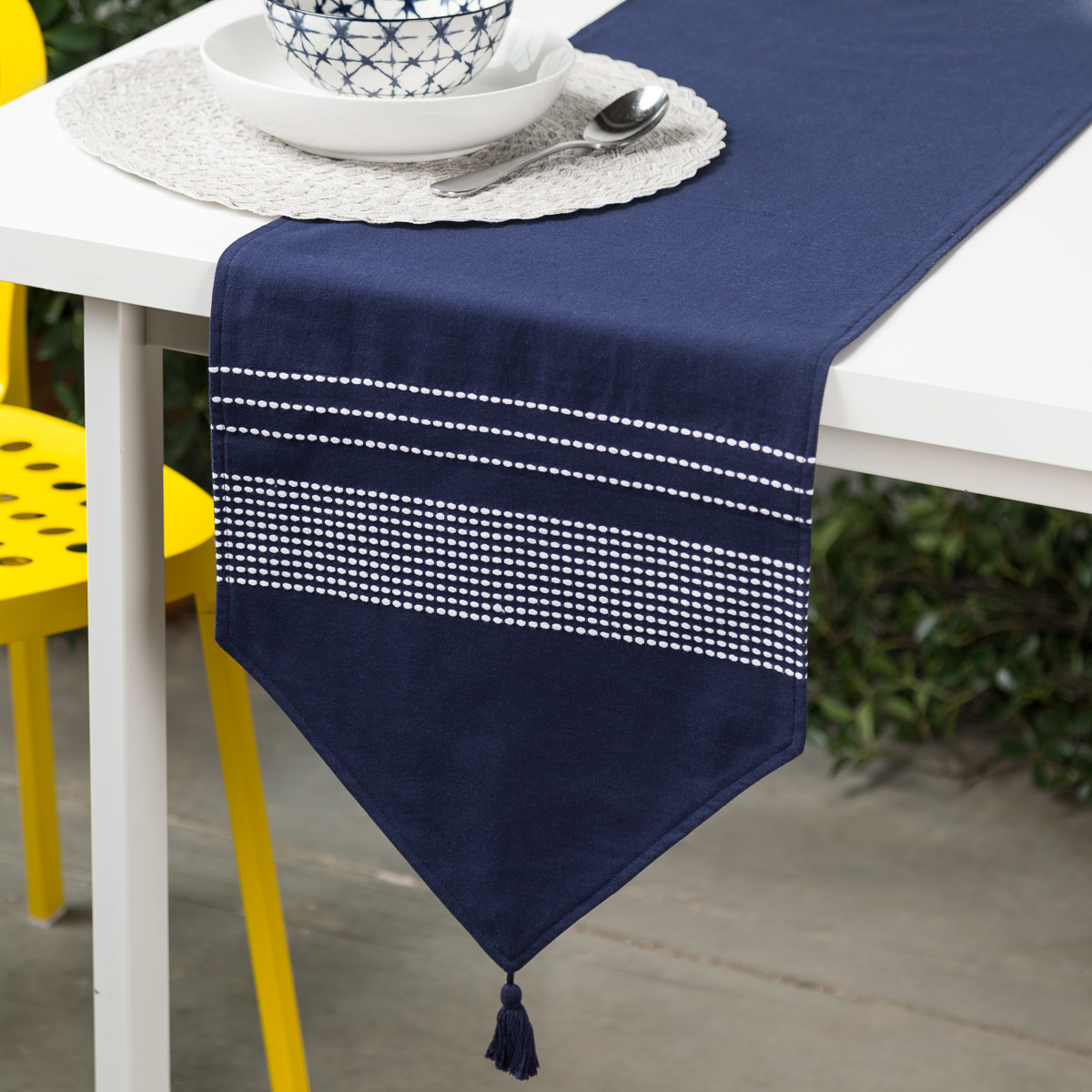 Coffee Table Runner.Navy Blue Pompom Table Runner With White Stripes