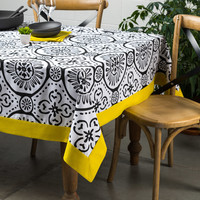 Graphic Print White Tablecloth with Canary-Yellow Border