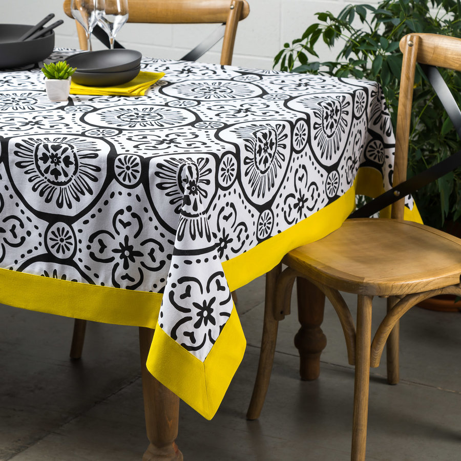 Graphic Print White Tablecloth with Canary-Yellow Border - Photo 0