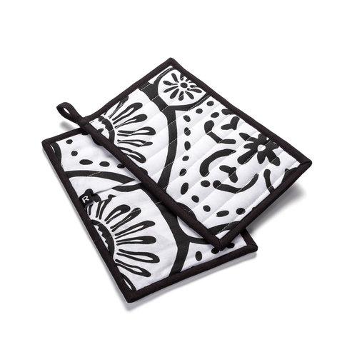 Sous-plats blancs à motifs graphiques noirs