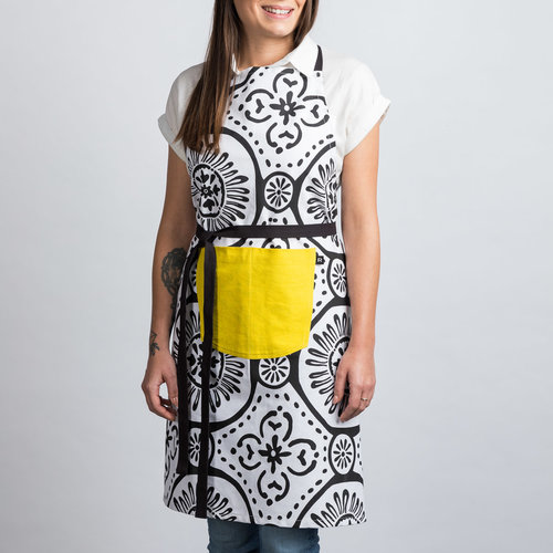 White Apron with Black Patterns and Yellow Pocket