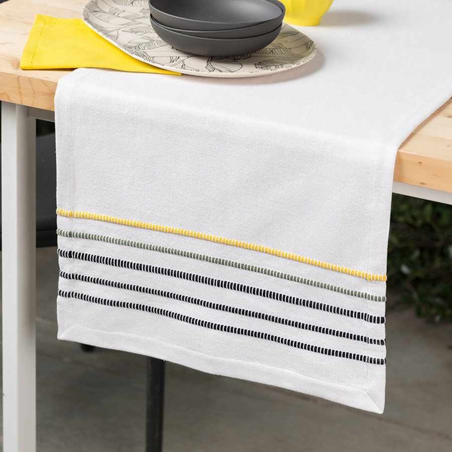 Yellow, Green and Black Striped Chambray Table Runner - Photo 0