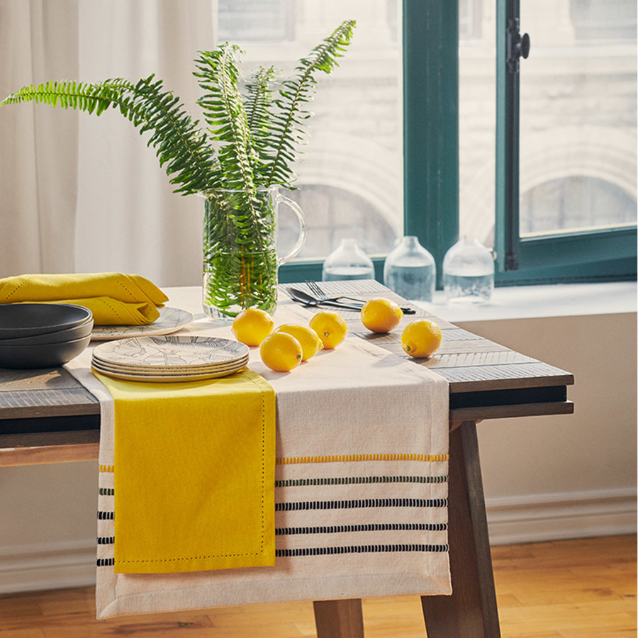 Yellow, Green and Black Striped Chambray Table Runner - Photo 1