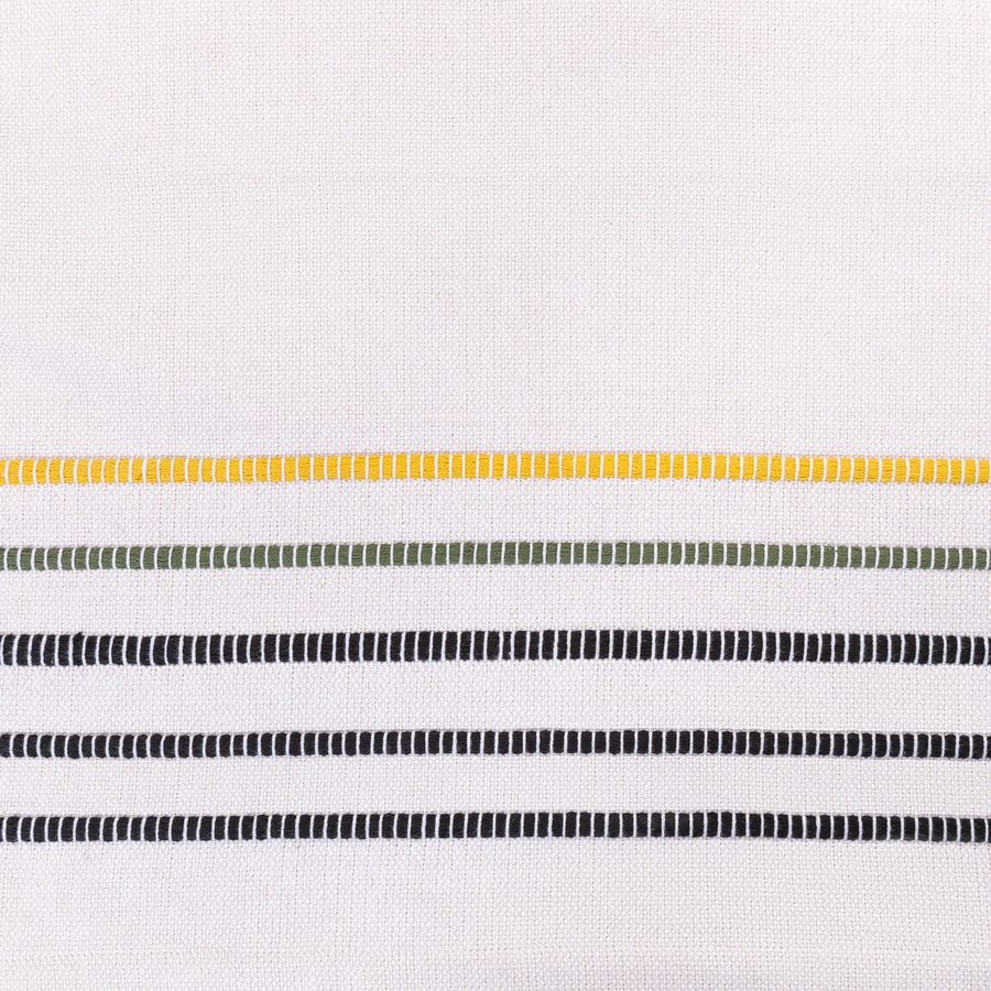 Yellow, Green and Black Striped Chambray Table Runner - Photo 2