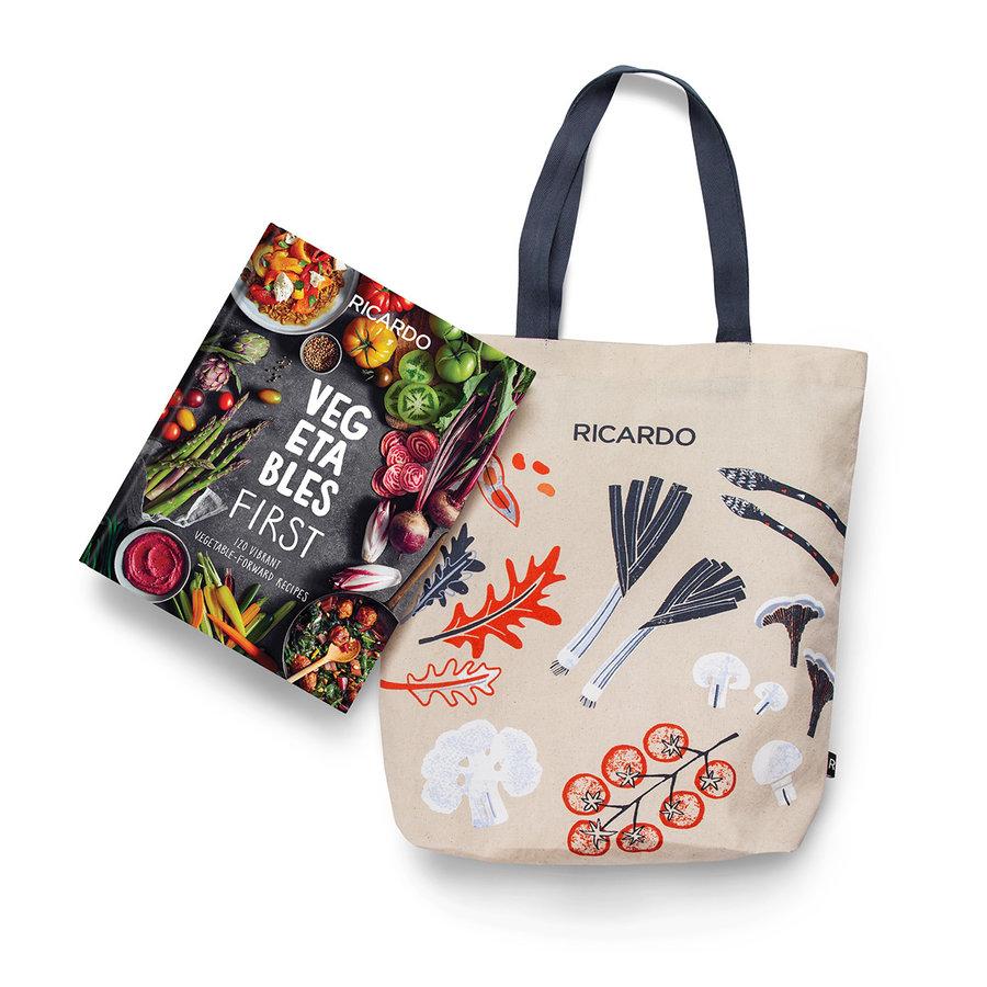 Combo livre <i>Vegetables First</i> (version anglaise) avec sac à emplettes - Photo 0