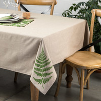 Fern Print Chambray Tablecloth