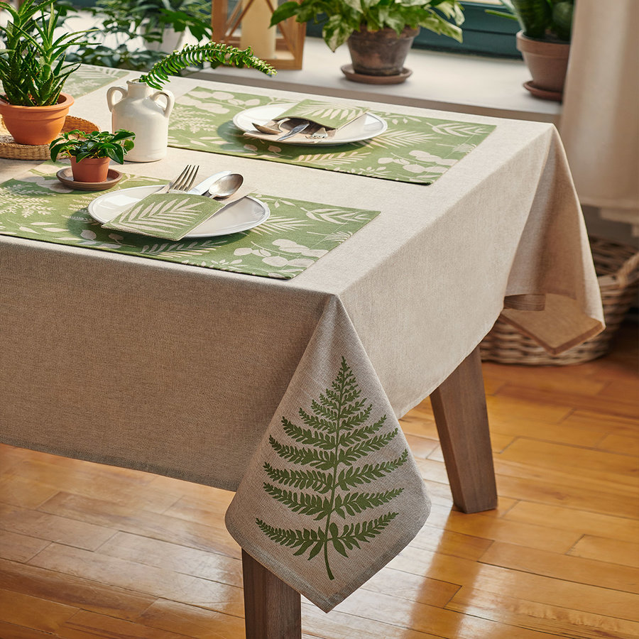 Fern Print Chambray Tablecloth - Photo 1