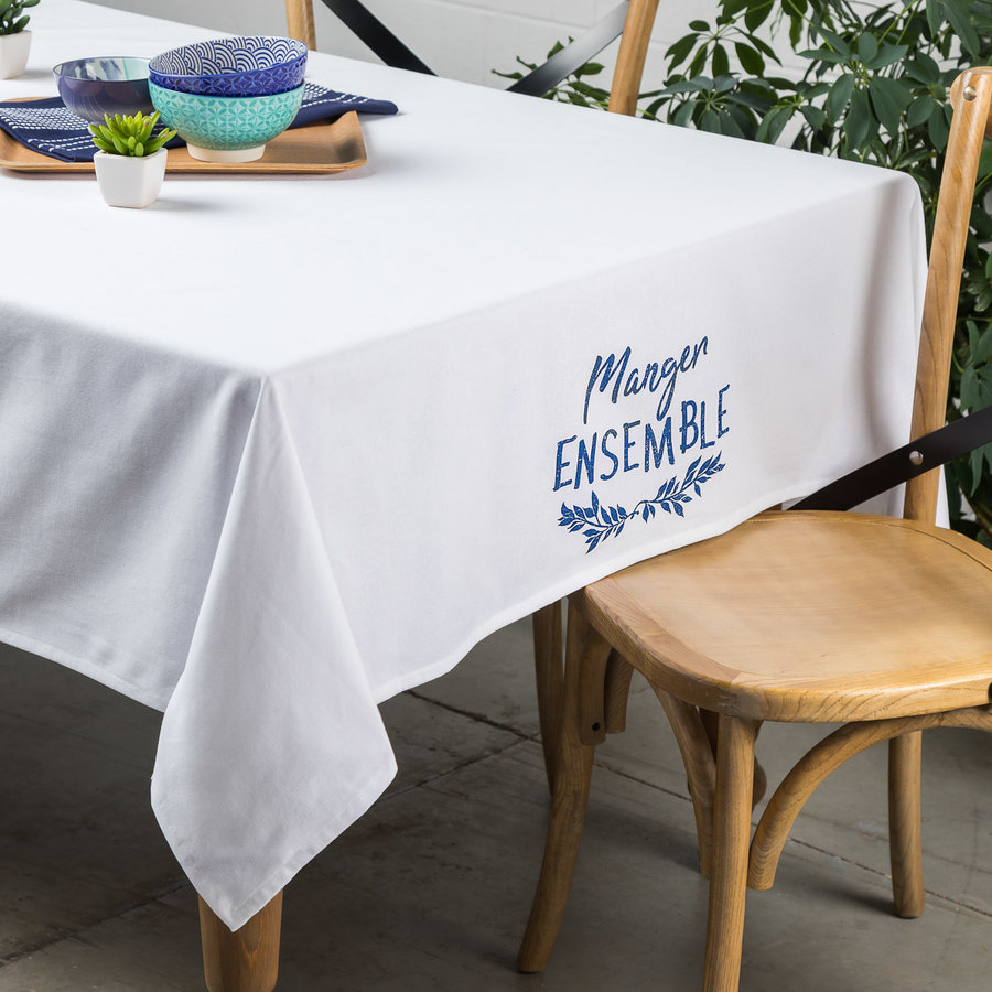 Nappe blanche « Manger ensemble » - Photo 0