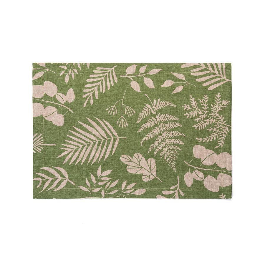 Napperons en chambray verts à motifs de fougères - Photo 0