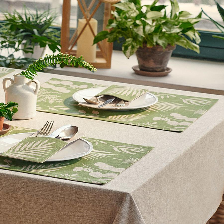 Napperons en chambray verts à motifs de fougères - Photo 1