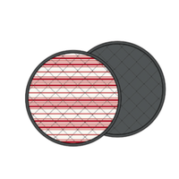 Round Red and Cream Striped Placemats