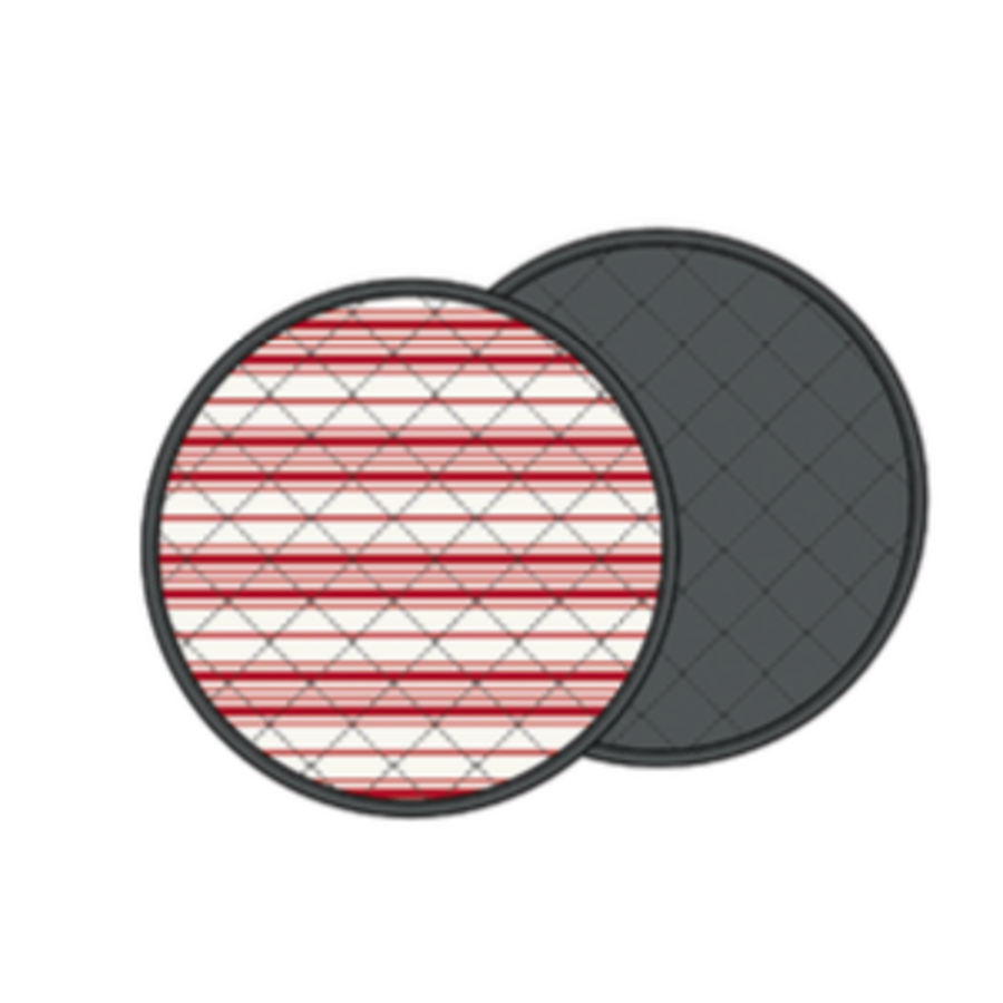 Round Red and Cream Striped Placemats - Photo 0