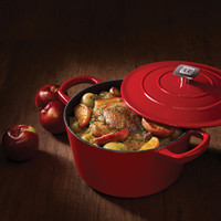 Red Enamelled 4-Litre Cast-Iron Dutch Oven