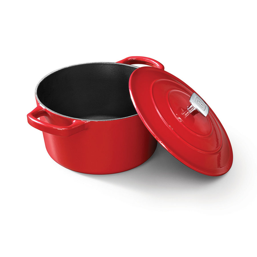 Red Enamelled 4-Litre Cast-Iron Dutch Oven - Photo 0