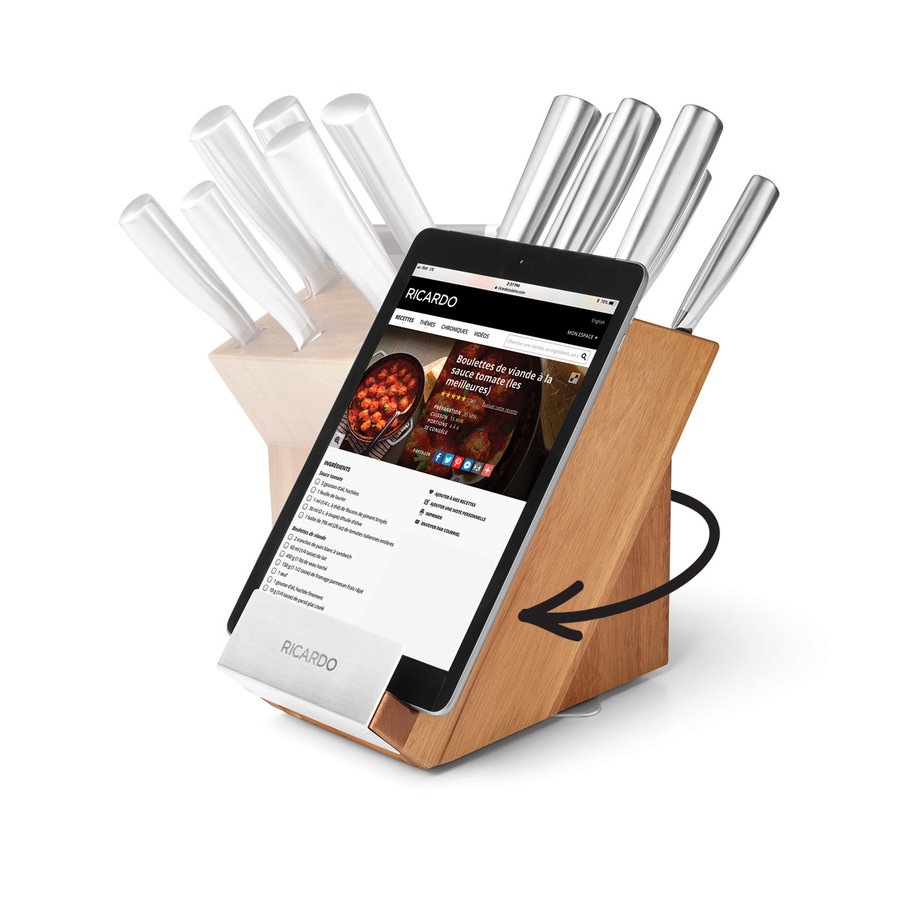 7-Piece Acacia Wood Rotating Knife Block Set - Photo 1