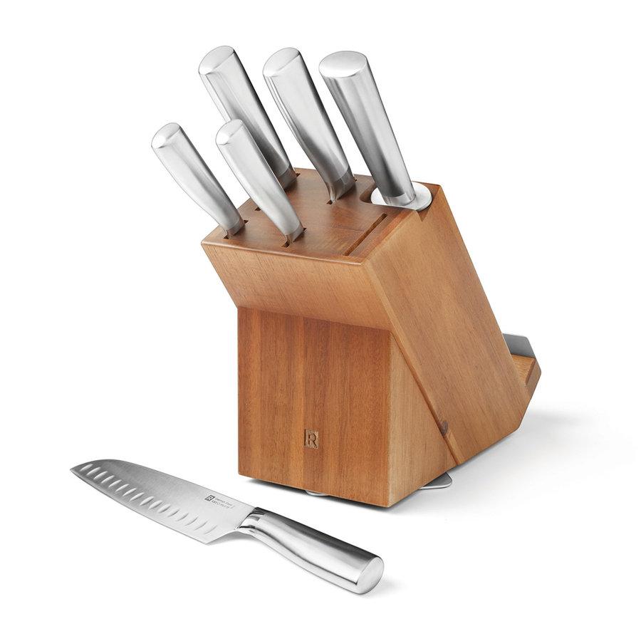Ensemble de bloc à couteaux rotatif en acacia de 7 morceaux - Photo 0
