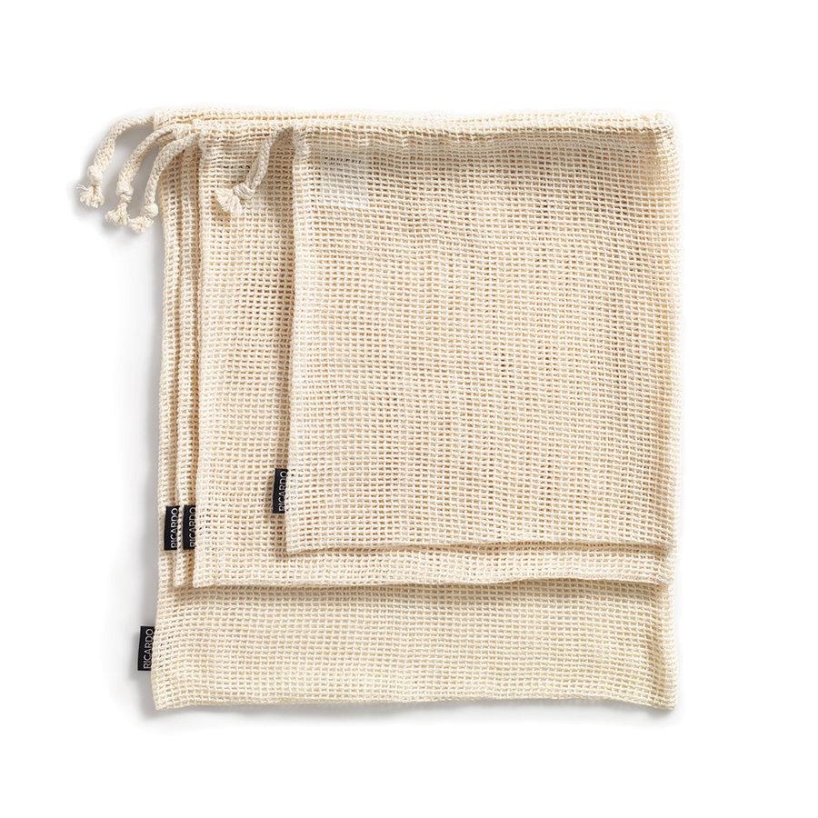Ensemble de 4 sacs réutilisables pour fruits et légumes en coton - Photo 0