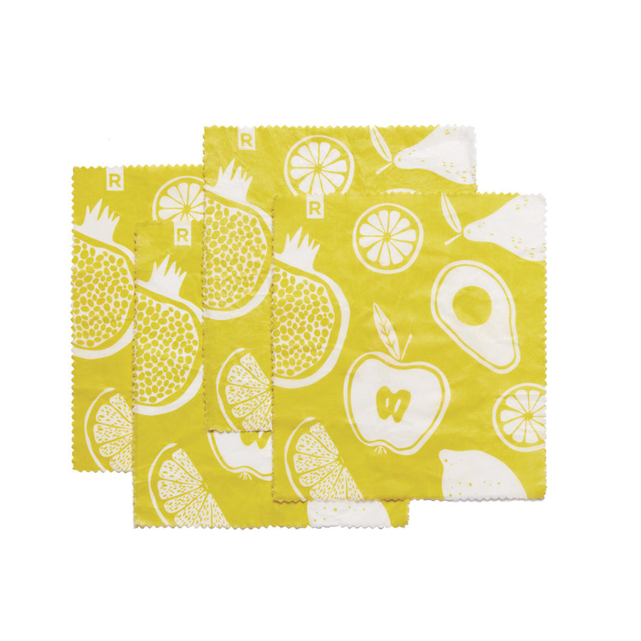 Set of 4 Small Yellow Reusable Food Wraps - Photo 0