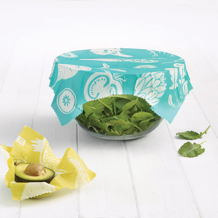 Set of 2 Large Turquoise Reusable Food Wraps - Photo 1