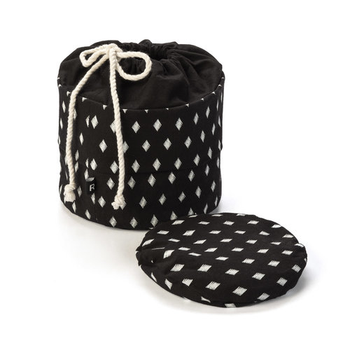 Diamond Motif Black Bread Bag