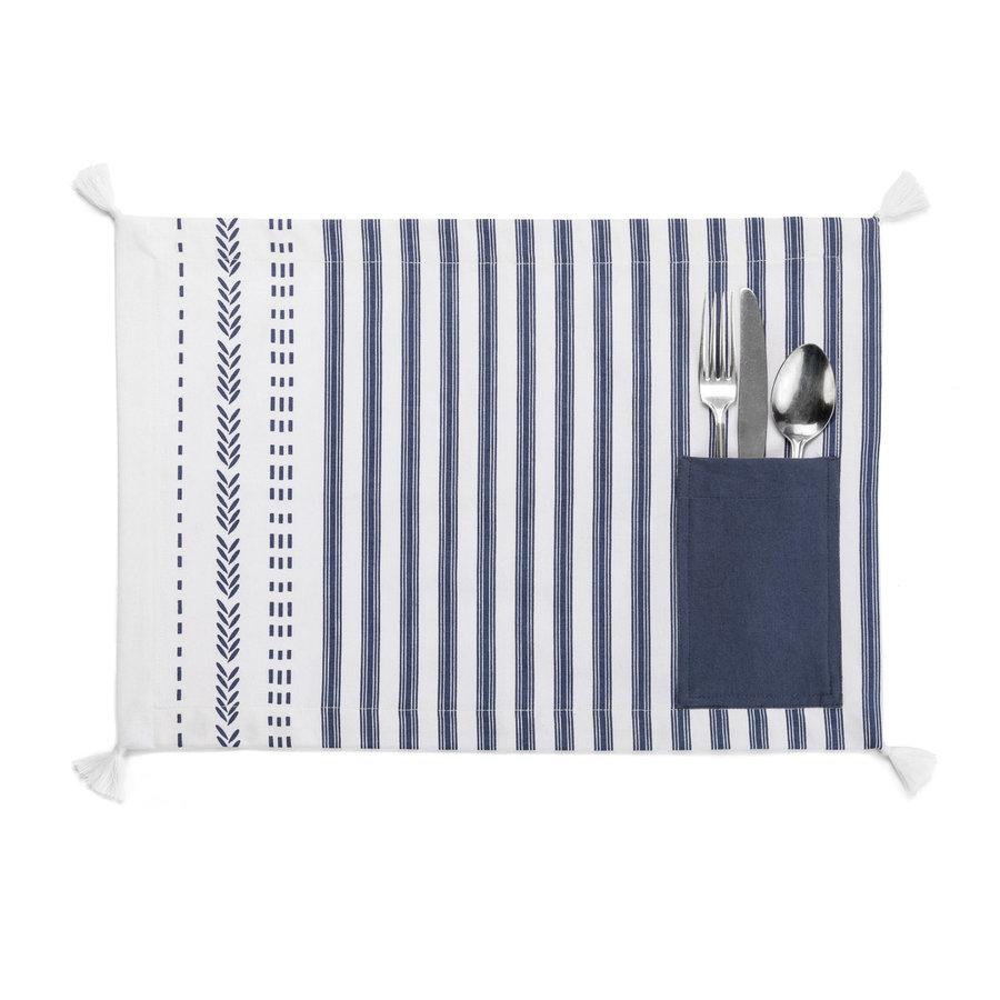 Napperon blanc à rayures bleu foncé, à pochettes et à pompons - Photo 0