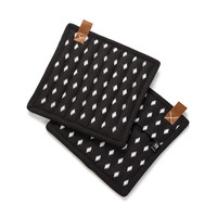 Black Pot Holders with White Diamond Motif and Leather Loops