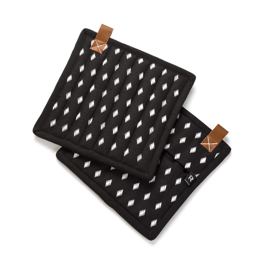 Black Pot Holders with White Diamond Motif and Leather Loops - Photo 0